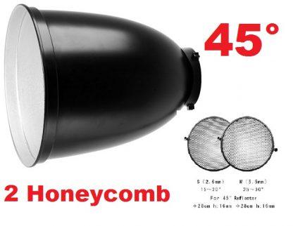 "Pro 45° Long Focus 11"" Reflector & 15°&30° Honeycomb 4 Bowens"