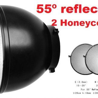 "Pro 55° 8"" Reflector with 15° & 30° Honeycomb 4 Calumet Bowens"