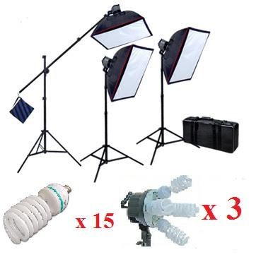 Pro 5-socket 3 lights Video Lighting with Boom Stand Kit 4500W