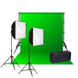 Rapid softbox single socket 600W Green Muslin Backdrop Kit