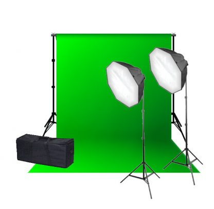 Rapid octagon Softbox single socket Green Muslin Backdrop Kit