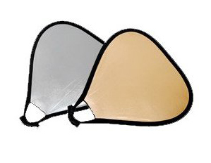 """Collapsible 32"""" Triangular Reflector 2 in 1 Gold Silver"""