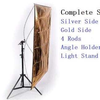 "Flat Panel Reflector 24""x48""+ Stand & Bracket (Silver/Gold)"