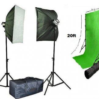 2000W Photo Studio Video Lighting Chromakey Green Backdrop Kit