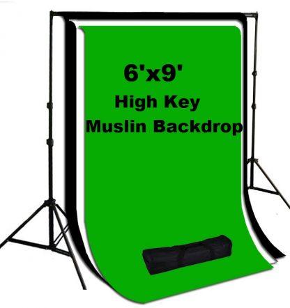 3 pcs 6'x9' Black/White/Green Muslin Backdrop Stand Kit