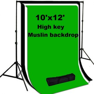 Pro 3 pcs 10'x20' High Key Muslin Backdrops Heavy Duty Stand Kit