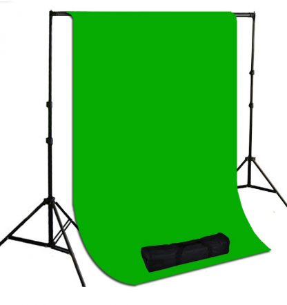 Pro 10'x20' High Key Chromakey Green Muslin Backdrop Stands Kit