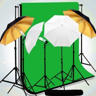 4 head umbrella light 3 backdrops kit