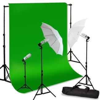 3-Head Umbrella Light Green Screen Kit