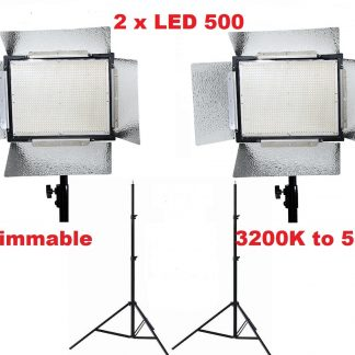 2 x LED 500 Bi Color AC/DC Dimmable LED Panel Light Stand