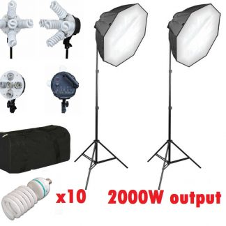 Pro 5 socket 2000 watt 2 light octagon softbox lighting kit