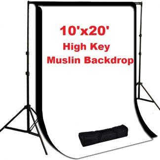 Pro 2 pcs 10'x20' High Key Muslin Backdrop Heavy Duty Stands Kit