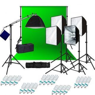 Pro 4-socket 5 lights 4000 W output Video light green scree kit