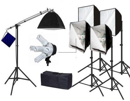 Pro 5 socket 5 lights with boom softbox 7500 watt lighting kit
