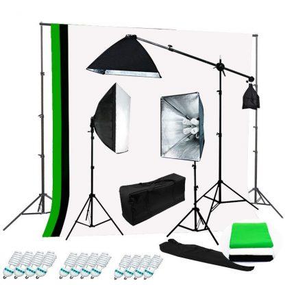Pro 4-socket 3 lights 2400W Video B/W/G Backdrop Boom Stand Kit