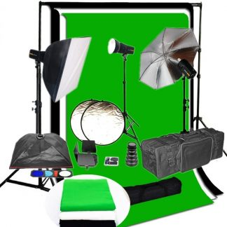 Pro 3 x 250 w/s complete studio package with backdrop & support