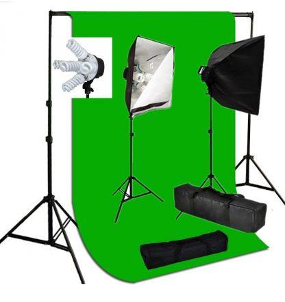 Pro 5-socket 2 lights 2000W output Chromakey Green Backdrop Kit