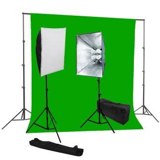 Pro 4-socket 2 lights Chromakey Green Backdrop Stand Kit