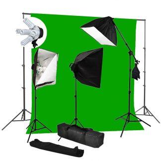 Pro 5-socket 3 lights 3000W output Chromakey Green Backdrop Kit