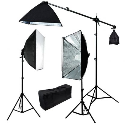 Rapid softbox single socket 3 lights with boom continuous kit