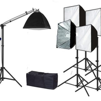 Rapid softbox single socket 5 lights with boom continuous light
