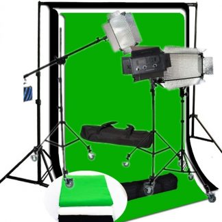 3 x LED 500 Bi Color AC/DC Dimmable LED Panel Light castor wheel