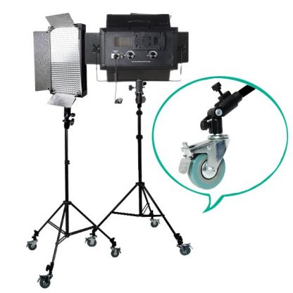 2 x LED 500 Bi Color AC/DC Dimmable LED Panel Light castor wheel