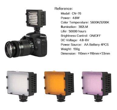 CN-76 76pcs LED Video Light bi color 3200K-5500K