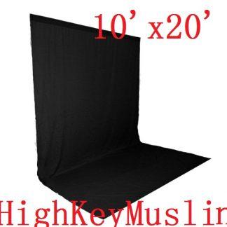 "NEW heavy duty Black 10'X20"" High Key Muslin Backdrop"