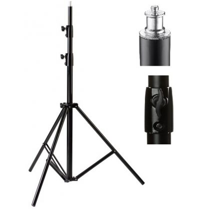 9' Chrome Plated Steel Light Stand, Black