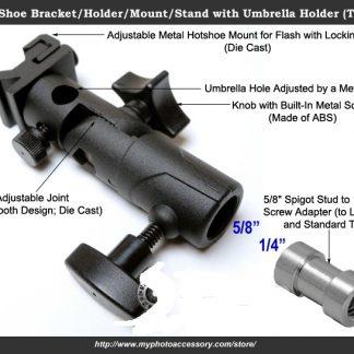 Deluxe Flash shoe mount bracket umbrella holder 100% Metal