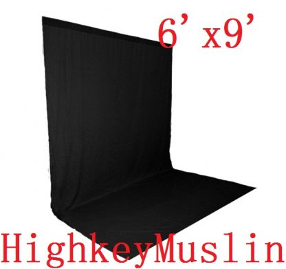 NEW heavy duty Black 10'X12' High Key Muslin Backdrop