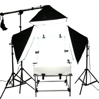 1500 watt output 3 head continuous lights & pro shooting table