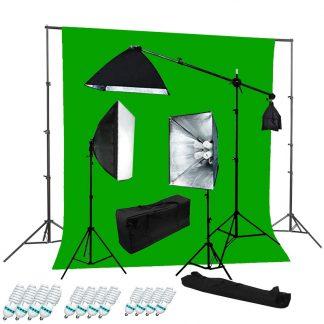 Pro 4-socket 3 lights Chromakey Green Backdrop Boom Stand Kit