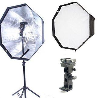 "Pro 32"" Octagon Umbrella Softbox +flash mount + stand kit"